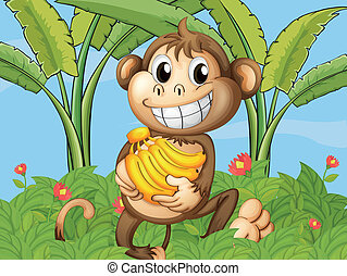 A happy monkey with bananas - Illustration of a happy monkey...