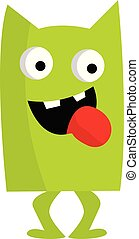 A happy monster green in color looks terrifying vector or color illustration