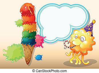 A happy monster near the colorful giant icecream