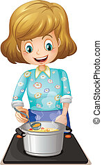 A happy mother cooking