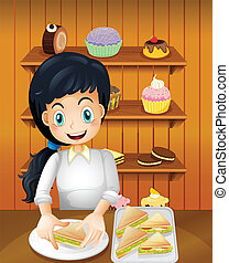 A happy mother preparing sandwiches - Illustration of a...