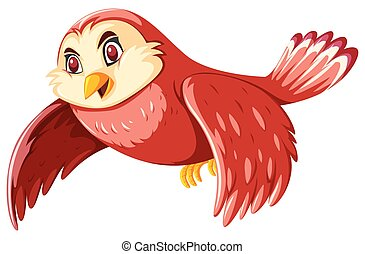 A happy owl flying on white background
