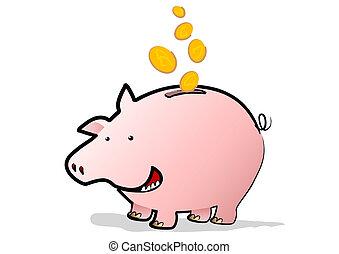 Happy Piggy Bank - A Happy Piggy Bank saving coins falling...