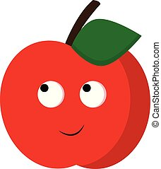 A happy red apple, vector color illustration.