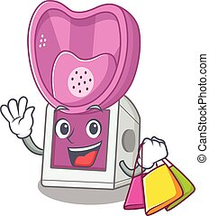 A happy rich steam inhaler waving and holding Shopping bag