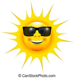 a happy smiling sun with sun glasses