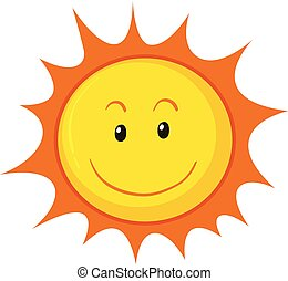 A Happy Sun on White Background