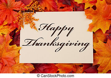 Happy Thanksgiving - A Happy Thanksgiving card, A beige card...
