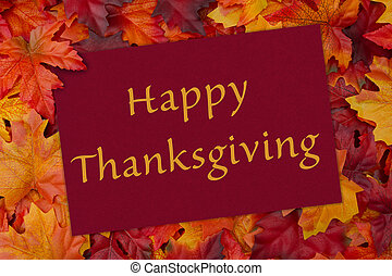 A Happy Thanksgiving card, A red card with words thank you over red and orange maple leaf background