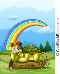 A happy turtle above the log and the rainbow in the sky -...