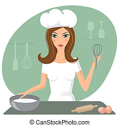 A happy very busy multitasking housewife