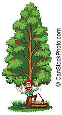 A happy woodman under the tree
