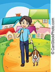 A happy young boy walking with his pet