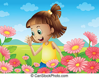 A happy young girl smiling at the garden