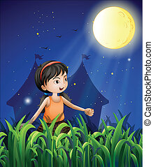 A happy young girl watching the moon