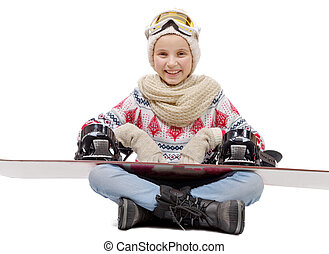 happy young girl with snowboard, on white