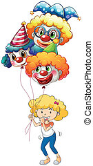 A happy young lady with three balloons