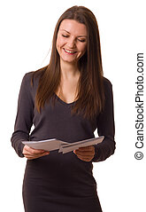 a happy young woman reading her post.