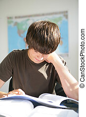 A hard-working teenager studying