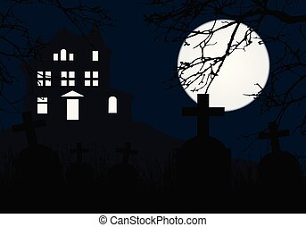 A haunted house on a hill above a graveyard with tombstones, horror blue sky and full moon and dead branches of a tree - for Halloween Party Invitation