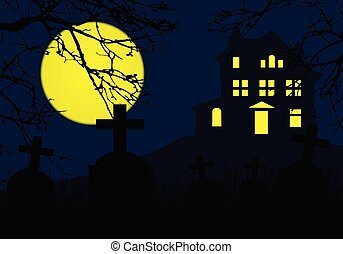 A haunted house on a hill above a graveyard with tombstones, horror blue sky and yellow full moon and dead branches of a tree - for Halloween Party Invitation