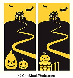 A haunted house on a hill with shining pumpkins, a horror yellow sky and flying bats and a path - for Halloween Party Invitation