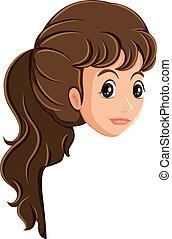A head of a girl