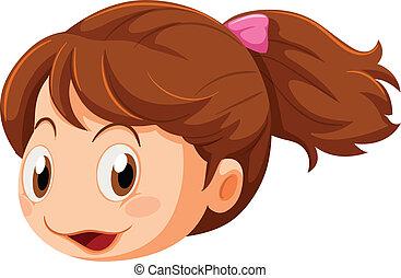 A head of a little girl