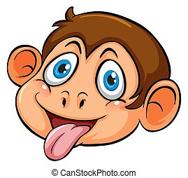 A head of a playful monkey on a white background