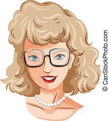 A head of a pretty lady with an eyeglass