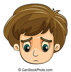 Illustration of a head of a sad young boy on a white background