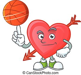 a Healthy arrow love cartoon character playing basketball