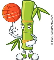 a Healthy bamboo stick cartoon character playing basketball