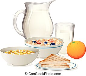A Healthy Breakfast on White Background