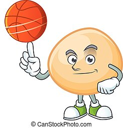 a Healthy brown hoppang cartoon character playing basketball