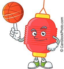 a Healthy chinese lantern cartoon character playing basketball