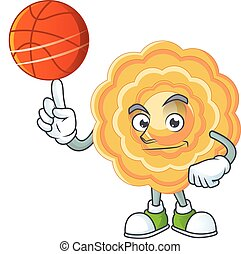 a Healthy chinese mooncake cartoon character playing basketball