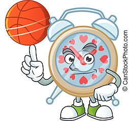 a Healthy clock love cartoon character playing basketball