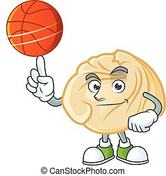 a Healthy dumpling cartoon character playing basketball