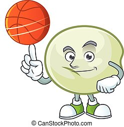 a Healthy green hoppang cartoon character playing basketball