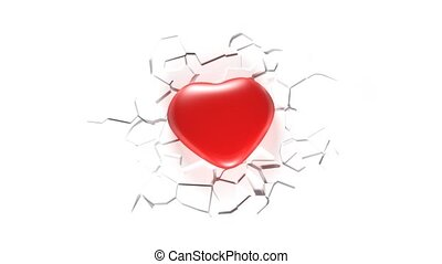 A healthy heart and a sick heart. A crack in the heart
