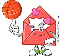 a Healthy love letter cartoon character playing basketball