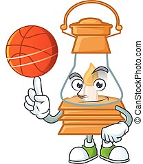 a Healthy oil lamp cartoon character playing basketball