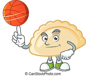 a Healthy pierogi cartoon character playing basketball. Vector illustration