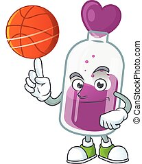 a Healthy purple potion cartoon character playing basketball