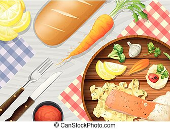A Healthy Salmon Pasta on Table