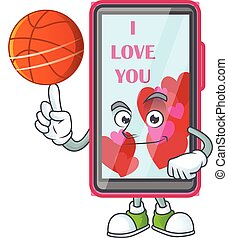 a Healthy smartphone love cartoon character playing basketball
