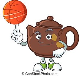 a Healthy teapot cartoon character playing basketball