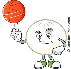 a Healthy white hoppang cartoon character playing basketball
