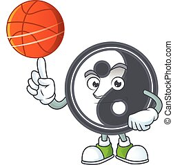 a Healthy yin yang cartoon character playing basketball